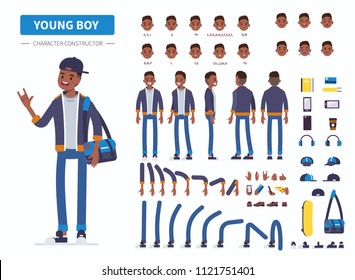 Young  african american  boy or teenager character constructor for animation. Front, side and back view. Flat  cartoon style illustration isolated on white background.
