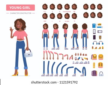 Young  african american girl or teenager character constructor for animation. Front, side and back view. Flat  cartoon style illustration isolated on white background.