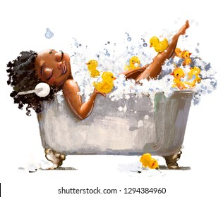 young african woman in bath with duck toys