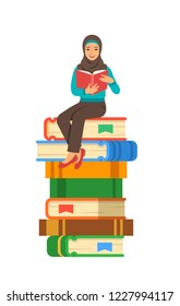 Young arabic girl student reads open book sitting on stack of giant books. High school education concept. Cartoon illustration. Exam preparation using paper book. Modern well-educated youth