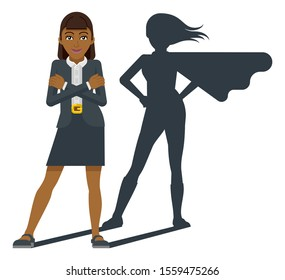 A young Asian business woman revealed as super hero by his superhero silhouette shadow