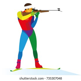 young athlete biathlon shoots at the shooting range during the race