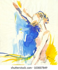 Young ballerina dancing. The painting of own imagination. Painting : water colors.