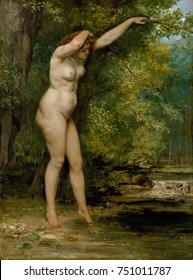 THE YOUNG BATHER, by Gustave Courbet, 1866, French painting, oil on canvas. Realistic nude without prettifying idealizations in a forest setting. She has physical weight, density, with flesh flowing o