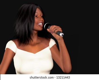 A young beautiful black woman singing with a microphone in her hand.