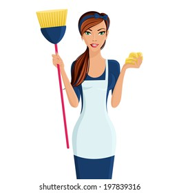 Young beautiful cleaning lady professional standing in apron with broom and dustcloth in hands isolated  illustration