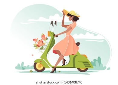 Young beautiful girl with long light dress, flowers and ladies hat on scooter. Concept fresh flat woman on vehicle in trip, journey. illustration.
