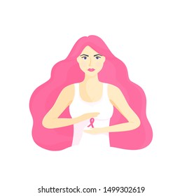 Young beautiful girl with magnificent hair holding a pink ribbon in her hands. National Breast Cancer Awareness Month concept.