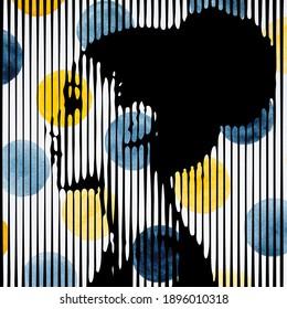 Junge schöne Frau im Profil auf Aquarell kreist Hintergrund. Moderner abstrakter geometrischer Stil ist sehr nützlich für die Wandgestaltung, Landungsseite, Website, Banner, Poster, Veranstaltung