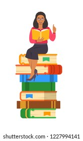 Young black woman teacher reads open book sitting on stack of giant books. School education concept. Cartoon illustration. Clever expert shares knowledge. Isolated on white