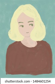 young blonde woman portrait illustration