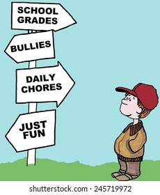 The young boy has many options: school grades, bullies, daily chores, just fun.