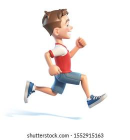 Young boy running, stylized cartoon character, school kid 3d rendering
