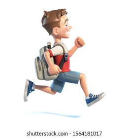 Young boy with school bag running, stylized cartoon character,  school kid 3d rendering