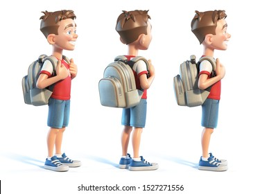 Young boy with school bag, stylized cartoon character,  school kid 3d rendering