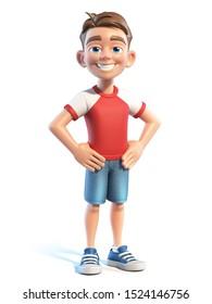 Young boy stylized cartoon character,  school kid 3d rendering