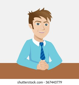 Young business man on a desk at the office. Mascot illustration. Businessman sitting at office desk.
