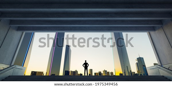 Young business man standing in the exit of the underground watching the modern city sunrise view, business ambition concept. 3d rendering