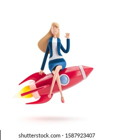 Young business woman Emma with rocket on a white background. 3d illustration. Business concept career boost, start up and growth