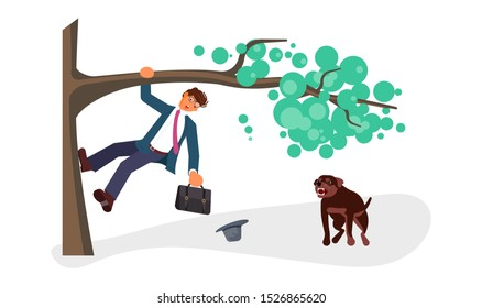 A young businessman climbed a tree fleeing an angry dog. Huge homeless aggressive mongrel attacks people. Flat Art Rastered Copy