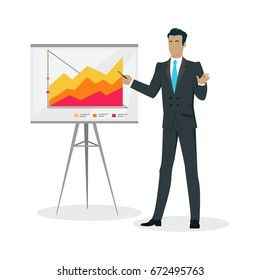 Young businessman in suit and blue tie making a presentation near whiteboard with infographics. Shows business charts and graphs on seminar. Board at a presentation with information
