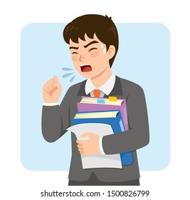 Young businessman in a suit coughing at work while holding office folders