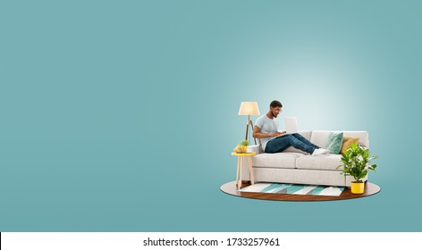 Young businessman working on laptop computer sitting on a couch at his home office. Studying, freelance and home office concept. Unusual 3d illustration
