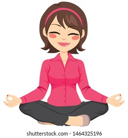 Young businesswoman in yoga lotus pose relaxing happy