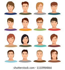 Young cartoon man portraits with various hairstyle. Male avatars set. Character young face male with hairstyle portrait illustration