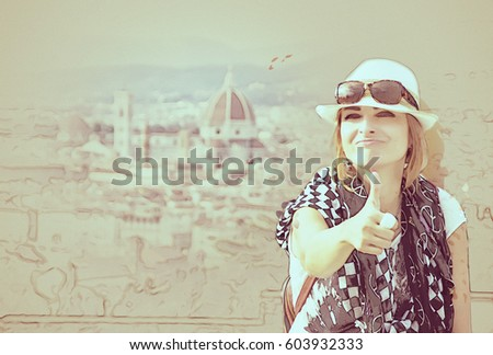 Young Caucasian Woman Thumb Florence City Stock Illustration