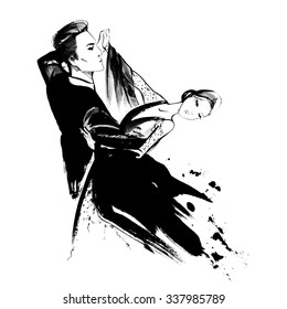 Young couple dancing tango, ink  illustration