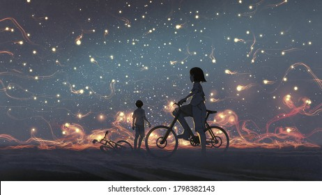 young couple look at mysterious light in the night sky, digital art style, illustration painting