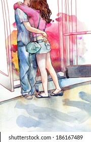 Young couple of lovers kissing and hugging each other. Watercolor illustration