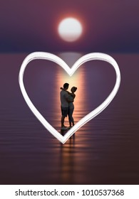 young couple on the beach at sunset, 3d illustration