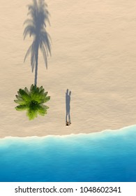 young couple on a sea beach, areal view, 3d illustration