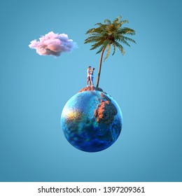 young couple on the sea beach on small planet, 3d illustration