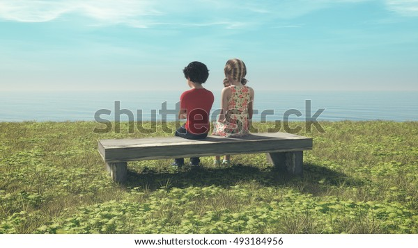 Young couple sitting on a bench and admiring the sea.  This is a 3d render illustration