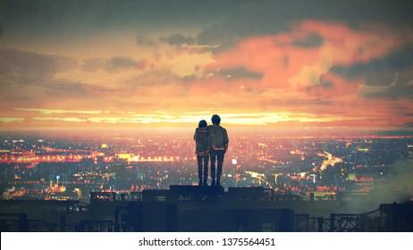 junges Ehepaar auf dem Dach, das bei Sonnenuntergang Stadtlandschaft anschaut, Stil der digitalen Kunst, Illustrationsmalerei