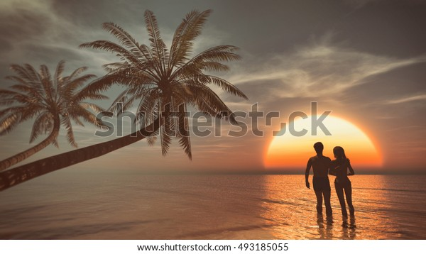 Young couple walking into the ocean on a sunset background at palm beach. This is a 3d render illustration
