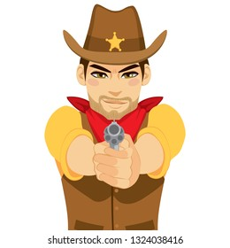 Young cowboy gunslinger shooting revolver with both hands