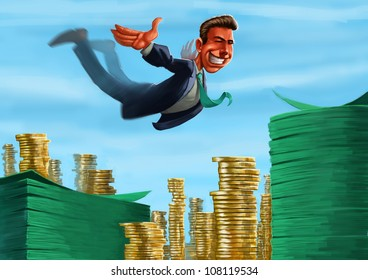 young executive jumping to a lot of coins and notes