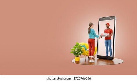 Young female receiving pizza from courier through smartphone screen. Food delivery service. Pizza delivery concept. Unusual 3d illustration