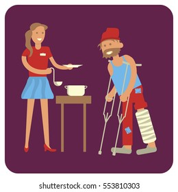 Young female volunteer is Feeding with homeless man. Flat style illustration isolated. Rastered copy