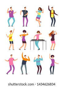 Young funny men and women dancing at summer party. Friendly people in vacation. cartoon characters isolated. Female and male party celebration and dance illustration