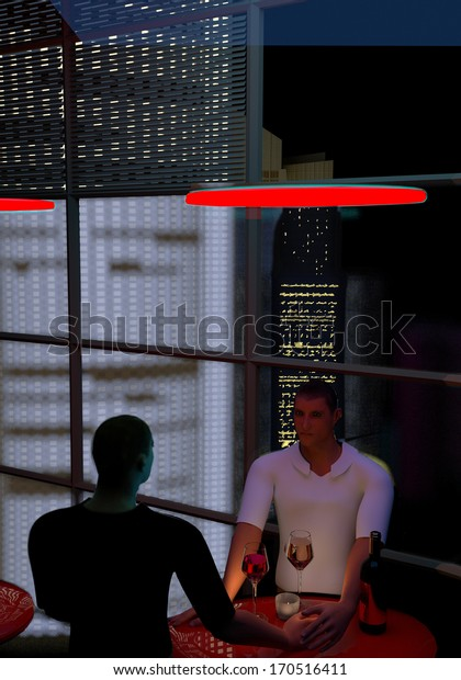 a young gay couple holding hands and drinking wine at a red coffee table, behind the big windows we see skyscrapers at night, 3D illustration, raster illustration