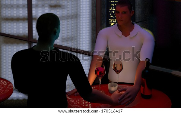 a young gay couple holding hands and drinking wine at a red coffee table, 3D illustration, raster illustration