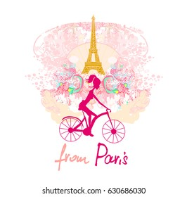 Фотообои young girl with bicycle in Paris