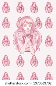 Young girl cute pattern pink