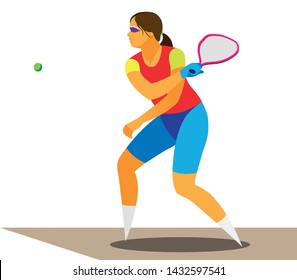 young girl in glasses and a red T-shirt plays a racquetball and beat the ball  with a racket