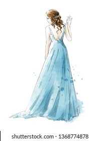 Young girl in a long dress, rear view, watercolor style